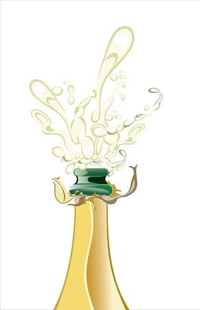 Close-up of champagne explosion Stock Vector - 17207297