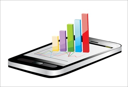 Smartphone showing a spreadsheet with some 3d charts over it Stock Vector - 17207267