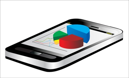 Smartphone showing a spreadsheet with some 3d charts over it Stock Vector - 17207261