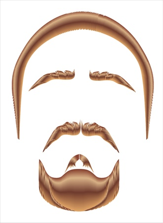 sideburn: Mustache, beard and hairstyle on a white background