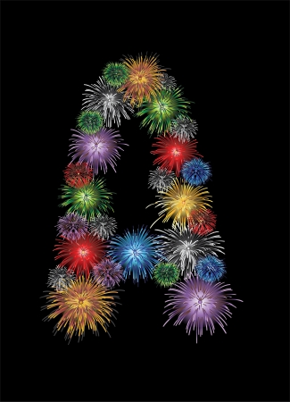 letter (A) made from colorful in the form of fireworks letters - check my portfolio for other letters. Vector