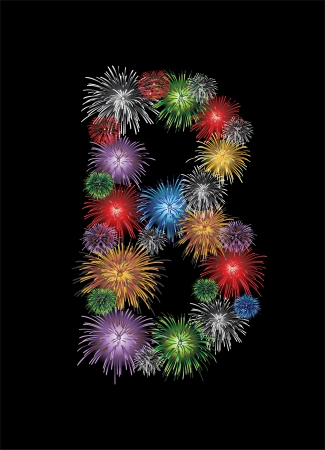 firework display: letter (B) made from colorful in the form of fireworks letters - check my portfolio for other letters.