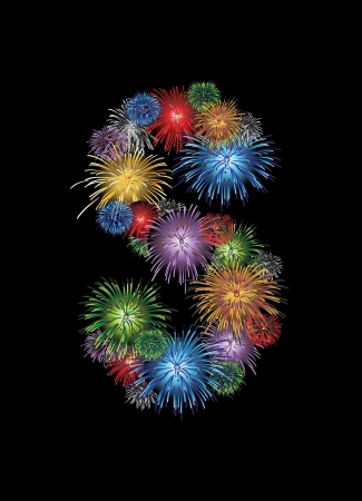 firework display: letter (S) made from colorful in the form of fireworks letters - check my portfolio for other letters. Illustration