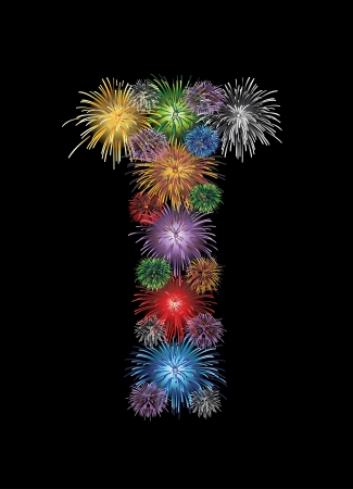letter (T) made from colorful in the form of fireworks letters - check my portfolio for other letters.