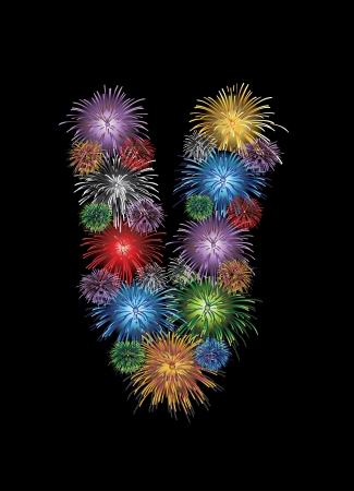 letter (V) made from colorful in the form of fireworks letters - check my portfolio for other letters. Vector