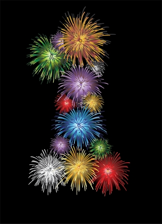 Number one made from colorful in the form of fireworks numbers - check my portfolio for other numbers Vector
