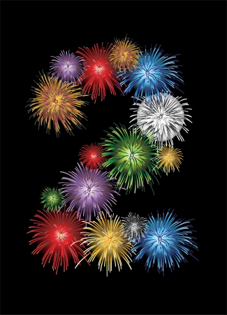 Number two made from colorful in the form of fireworks numbers - check my portfolio for other numbers Vector