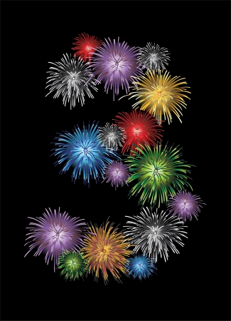 Number three made from colorful in the form of fireworks numbers - check my portfolio for other numbers Vector