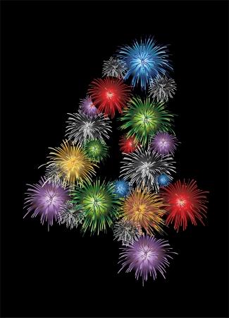 cijfer vier: Nummer vier gemaakt van kleurrijke in de vorm van vuurwerk nummers - check mijn portfolio voor andere nummers