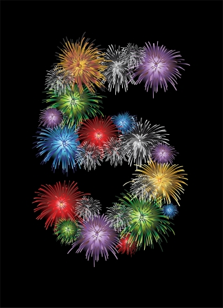 Number five made from colorful in the form of fireworks numbers - check my portfolio for other numbers Vector