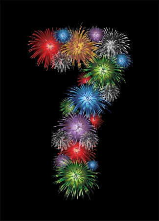 Number seven made from colorful in the form of fireworks numbers - check my portfolio for other numbers Vector