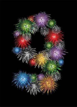 Number nine made from colorful in the form of fireworks numbers - check my portfolio for other numbers Vector