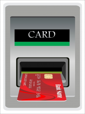 Money withdrawal. ATM and credit or debit card. Stock Vector - 17483866