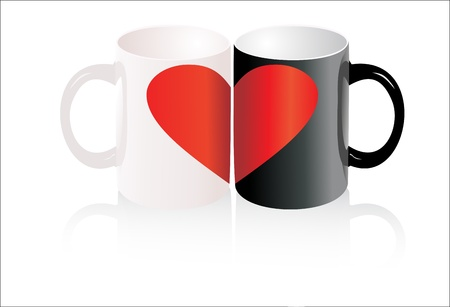 Two cup, one heart. Love concept. Vector