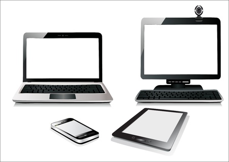 Computer, Laptop Tablet and Phone. Set of Computer Devices.