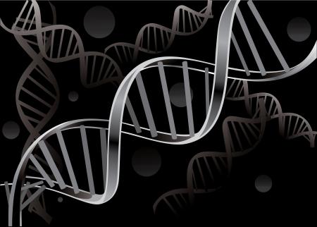 sosie: Brin d'ADN isol�e sur fond noir