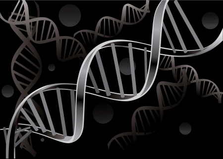DNA strand isolated on black background Vector