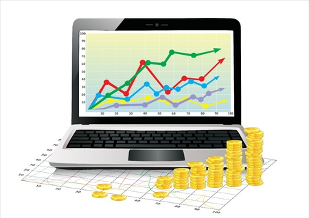 Profit concept, Coins shows business growth chart isolated on a white background Ilustrace