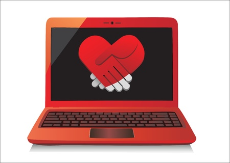 Heart Concept  Laptop on white Background  Vector Stock Vector - 17483872