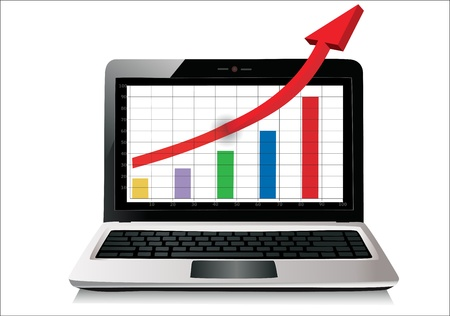 Profit concept, red arrow shows business growth chart isolated on a white background Stock Vector - 17483863