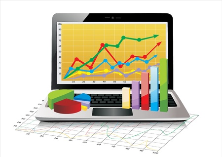 Laptop showing a spreadsheet with some 3d charts over it Stock Vector - 17483879