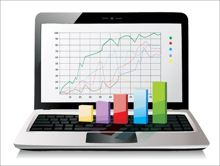 Laptop showing a spreadsheet with some 3d charts over it Stock Vector - 17483870