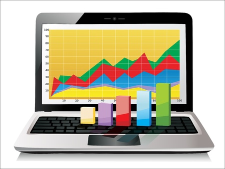 Laptop showing a spreadsheet with some 3d charts over it Illustration