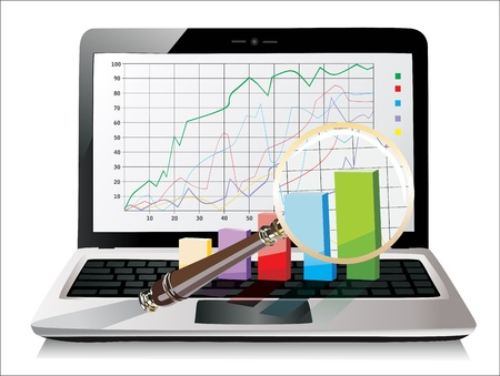 Laptop showing a magnifying glass spreadsheet with some 3d charts over it Stock Vector - 17483878