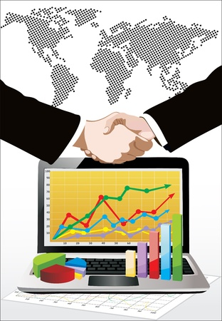 World map, laptop showing a spreadsheet with some 3d charts over it and handshake Stock Vector - 17483895