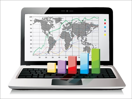 Laptop showing a spreadsheet with some 3d charts over it Stock Vector - 17483883