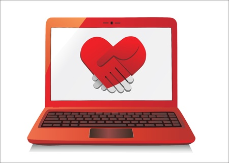 Heart Concept  Laptop on white Background  Vector Stock Vector - 17483857