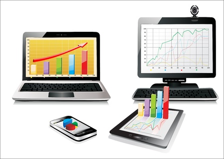 Computer, Laptop Tablet and Phone with business graph   Set of Computer Devices Stock Vector - 17483909