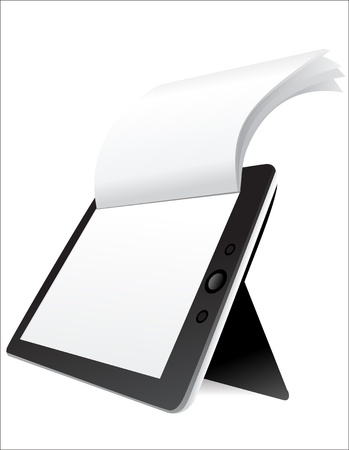 Black tablet computer with blank pages on white background Stock Vector - 17483840