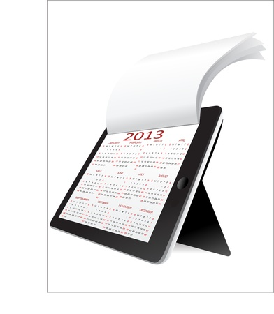 Black tablet pc on white background WIth calendar 2013  Vector