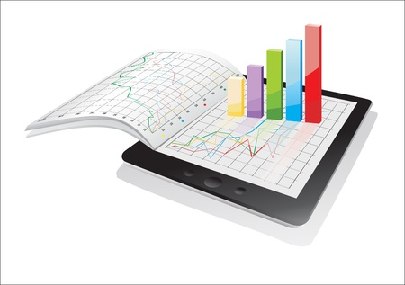 Tablet showing a spreadsheet and a paper with statistic 3d charts Vector