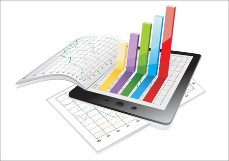 Tablet showing a spreadsheet and a paper with statistic 3d charts Stock Vector - 17483881