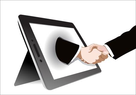 Tablet handshake Stock Vector - 17483858