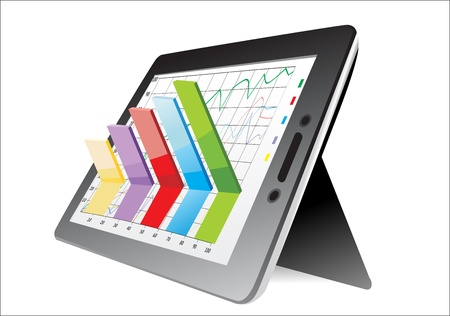 computer tablet showing a spreadsheet with some 3d charts over it Stock Vector - 17483860
