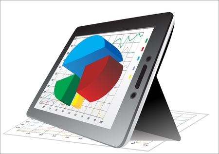 computer tablet showing a spreadsheet with some 3d charts over it Stock Vector - 17483890