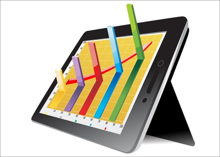 computer tablet showing a spreadsheet with some 3d charts over it Stock Vector - 17483861