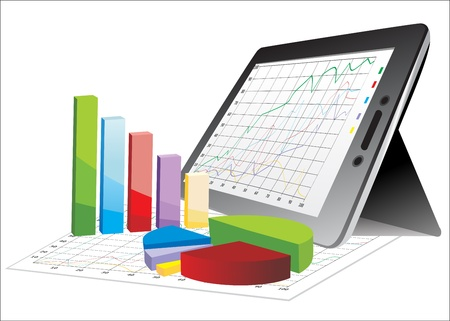 computer tablet showing a spreadsheet with some 3d charts over it Ilustração