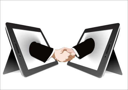 Two computer tablet and Hands in handshaking, Internetworking Concept, Wireless Communication Vector