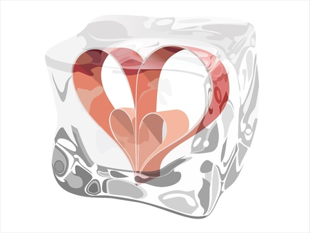 a frozen red heart as a symbol of frozen love, ice cubes with heart Stock Vector - 17483856