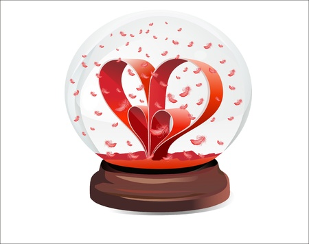 Snow globe with red hearts on white background Vector