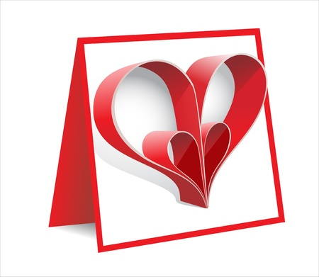 Red paper heart Valentines day Stock Vector - 17483839