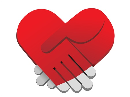 red palms handshake heart shaped vector illustration