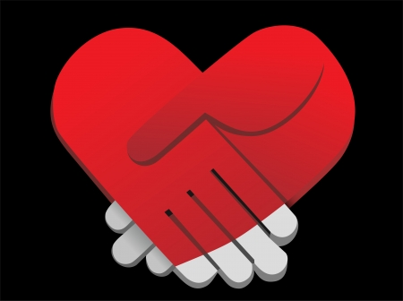 pact: red palms handshake heart shaped vector illustration