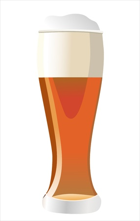 Beer into glass isolated on white Stock Vector - 17483925