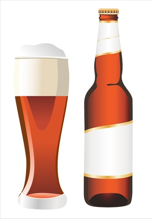 Bottle and glass of beer isolated on white Stock Vector - 17484000