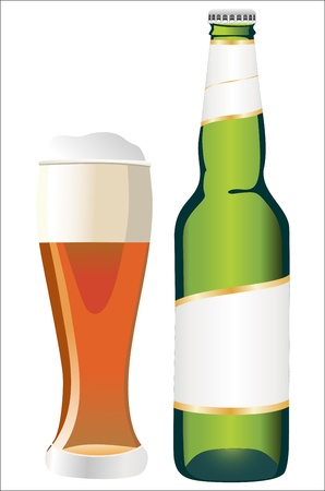 Bottle and glass of beer isolated on white Vector